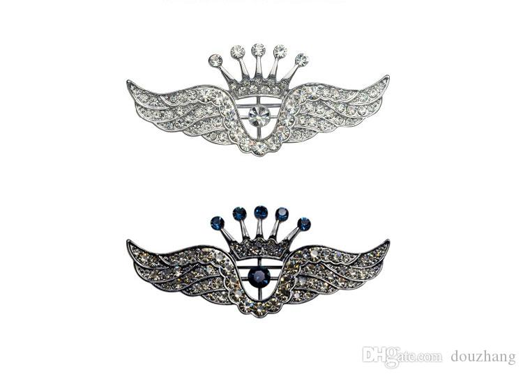 Fashion Trendy Hot Unisex Jewelry Rhinestones Silver Crown Wing Brooch Pin Women Men Wedding Jewelry Wholesale
