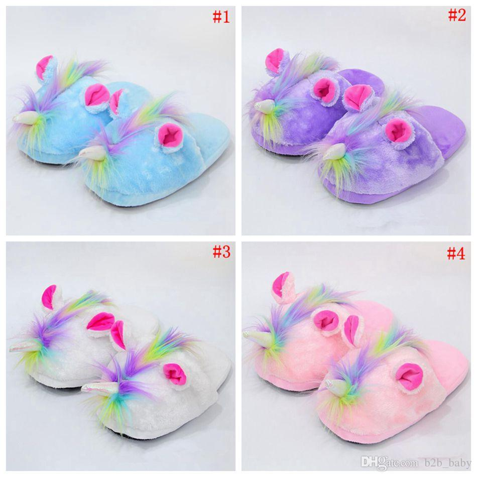 5f2872ca58f4 Cute Unicorn Plush Slippers Shoes Cartoon Anime Lovely Winter Warm Indoor  Home Slippers Children Shoes OOA3342 Unicorn Slippers Plush Slippers Cartoon  ...