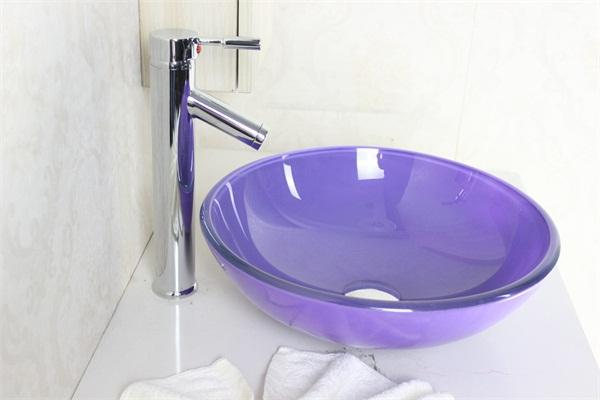 Captivating Lavender Purple Tempered Glass Vessel Sink With High Oblique Faucet Set  N 536