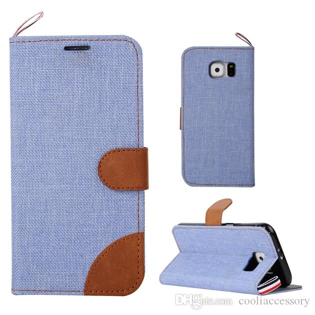 For Samsung Galaxy S8 PLUS J5 Prime S6 S5 Mini Jean Cloth Dual Color Wallet FLip Leather Case Pouch Card Stand British Style TPU Cover