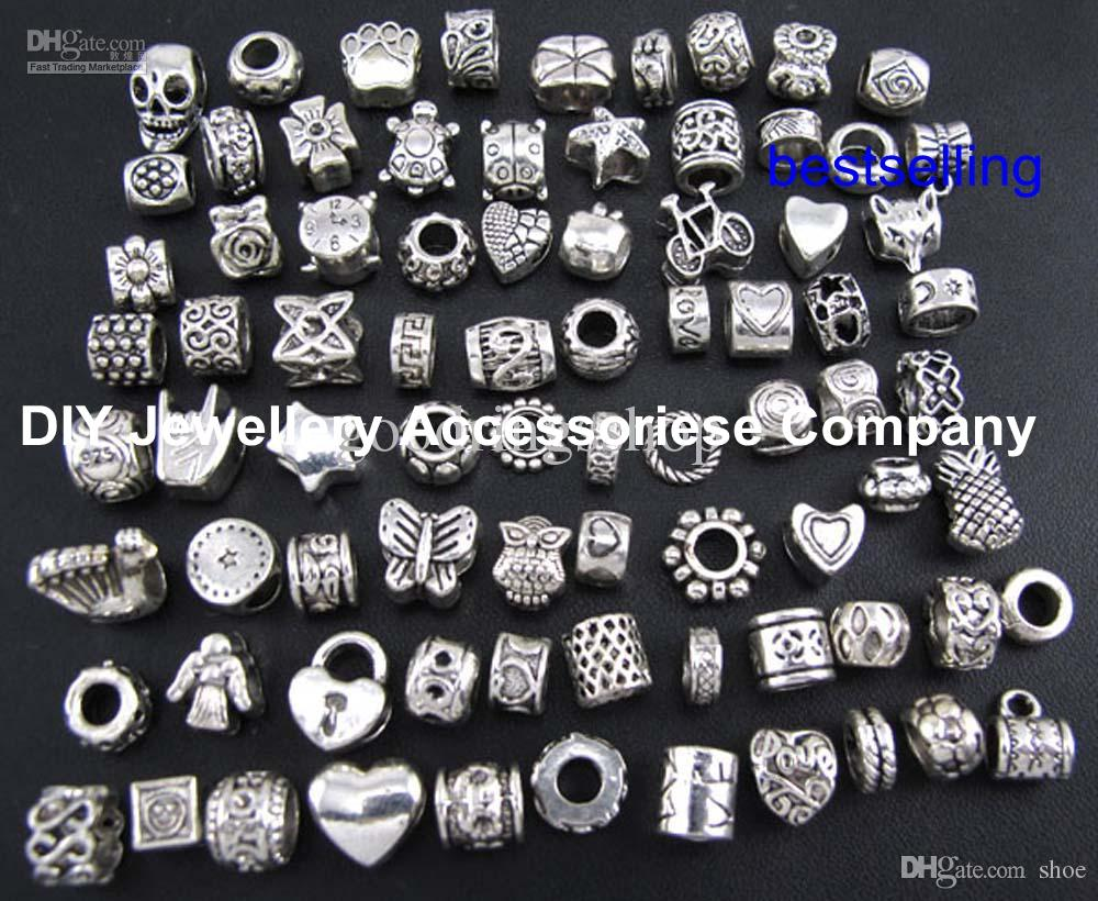 100pcs beads charms Mix 29 Style Big Hole Loose Beads charm For Pandora DIY Jewelry Bracelet For European