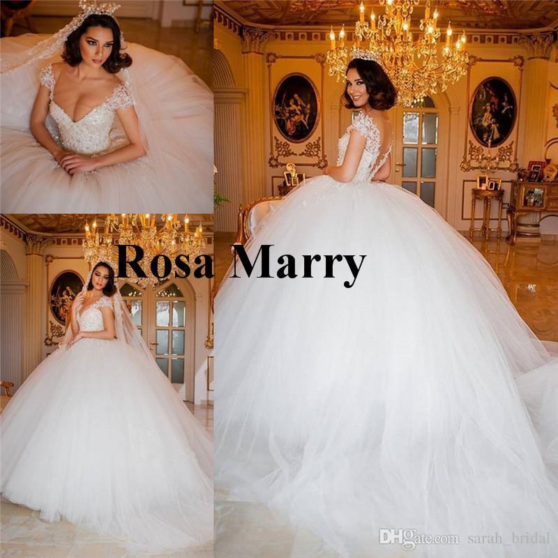 Russian Wedding Dresses | Luxury Vintage Lace Ball Gown Wedding Dresses 2018 Off Shoulder Plus