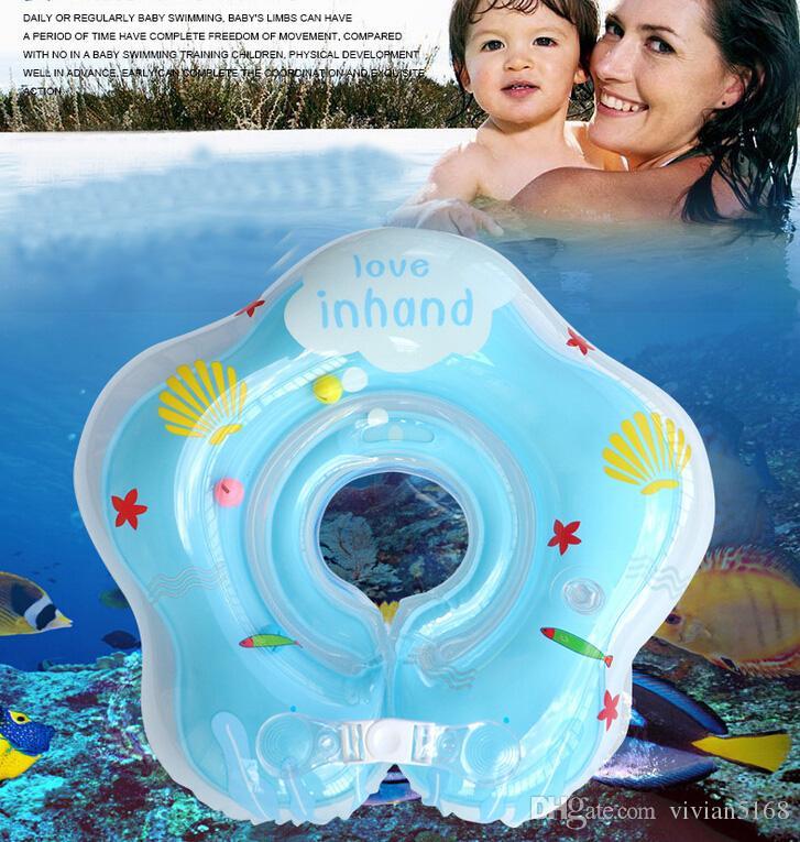 Einstellbare 4 Farben Aufblasbare Kreis Neugeborenen Schwimmen Hals Baby Schwimmring Float Ring Sicherheit Doppel Schutz für 0-18Monate