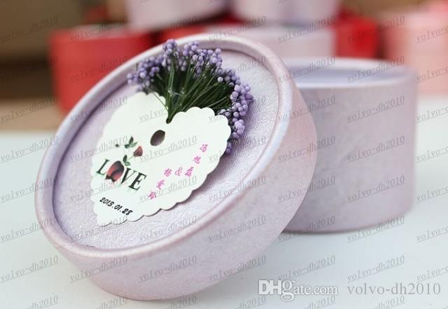 Lovely wedding party favor gift wedding chocolate candy box with silk ribbon and lavender LLFA3149F