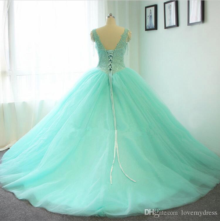 Masquerade Ball Gowns 2018 Mint Sequined Dress Quinceanera Prom Gowns Sweet 16 Girls V neck lace Applique Tulle Ball Gown Sheer Straps Cheap