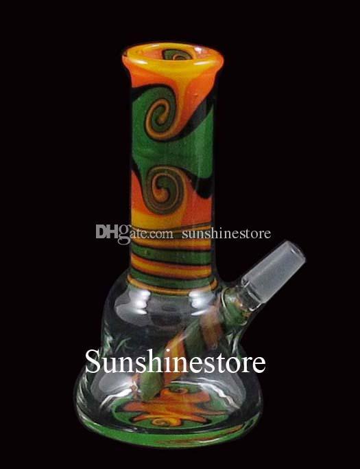 4 pouces verre mini dab Bong rasta couleur gréement w-ax WK-023 joint 10mm
