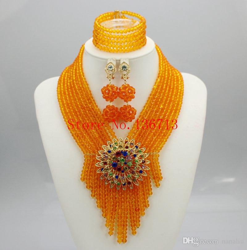 Latest New African Wedding Beads Bridal Jewelry Sets Handmade ...