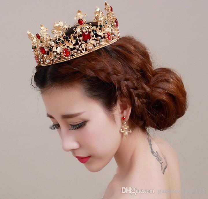 2016 ha colpito la sposa crecy yao grandi modi antichi restauro anello e la sposa sposato corona corona barocca gli accessori dei capelli regina