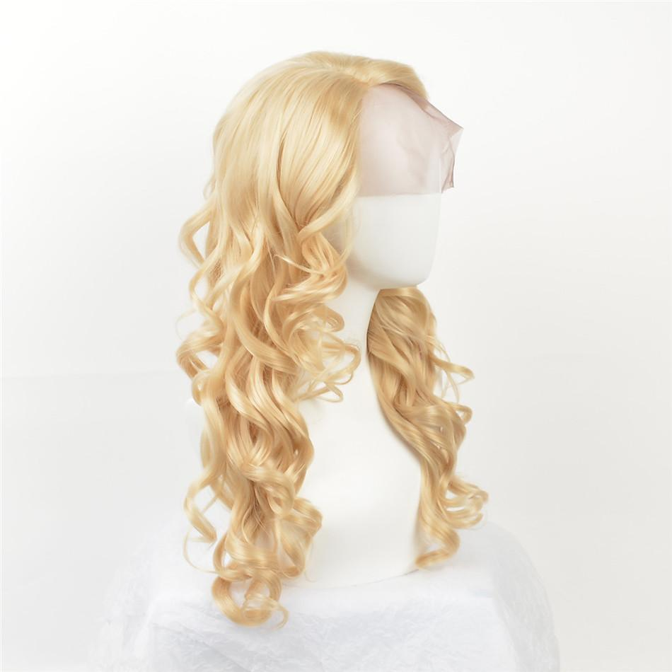 blond curly hair lace front wig Growing wave synthetic lace before lace 613# blond hair color mixed color high temperature fiber white women