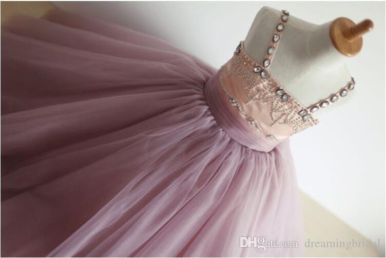 2017 blumenmädchenkleider Für Hochzeiten Ballkleid Platz Tüll Kristall Perlen Erstkommunion Kleider Für Mädchen Nach Maß