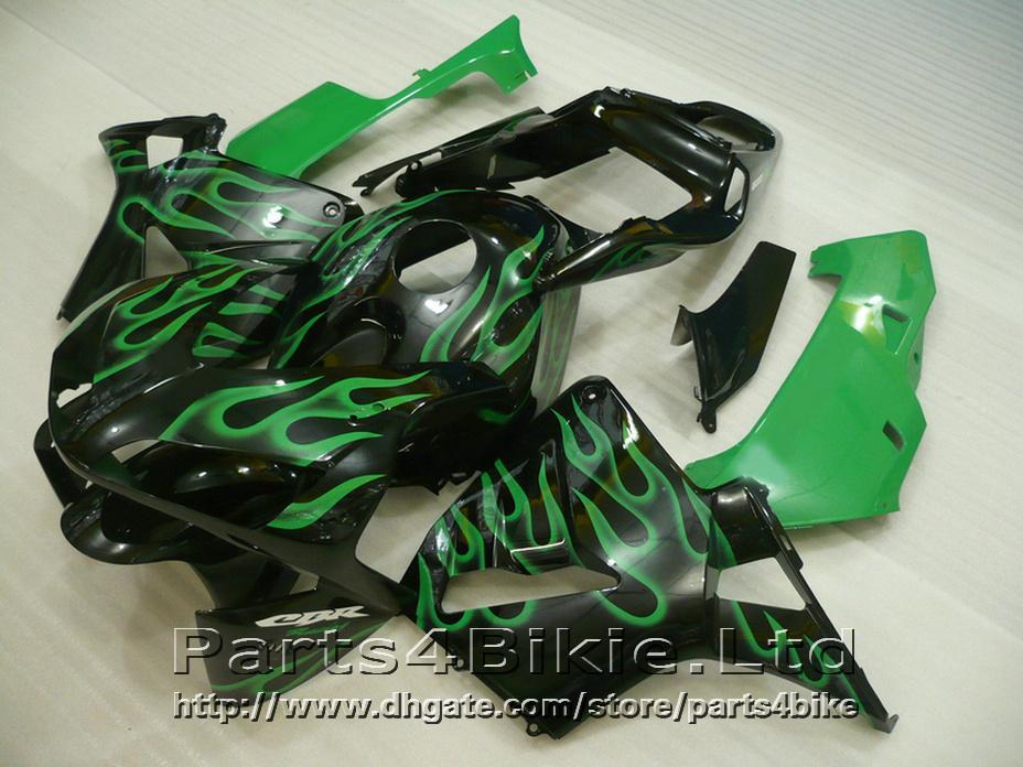 Fitment bodykit style carene Honda CBR600RR 2003 2006 CBR 600 RR kit carenatura green flame nero CBR 600RR 03 04 GVUS