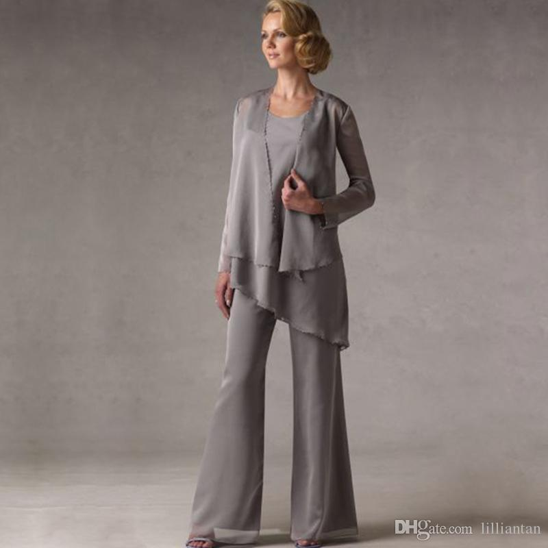 Mother of The Groom Grey Chiffon Bridal Mother Bride Pant Suits With Jacket Women Evening Pant Suits robe de mere de mariee