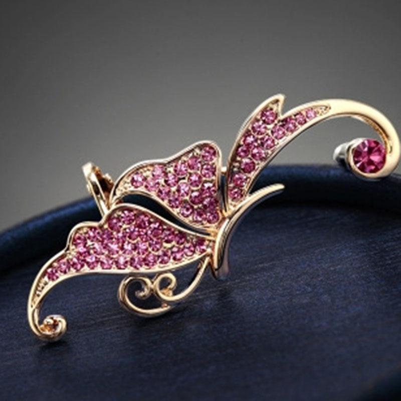 Brincos de grife Cheio de brincos de diamante borboleta brinco elf Manguito Não perfurado orelha clipe de orelha pendurado moda jóias brinco ouvido manguito 17013