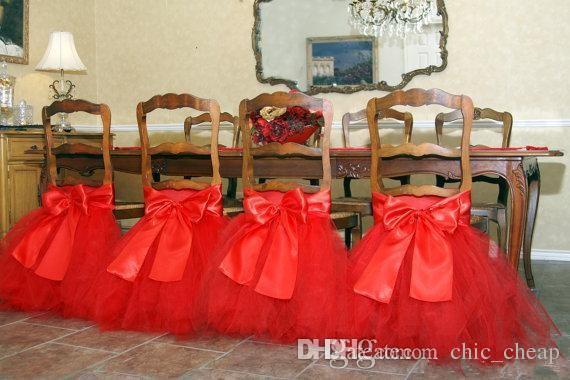 En Stock 2017 Satén Tulle Tutu Fundas para sillas Vintage Silla romántica Fajas Hermosas decoraciones de boda de moda