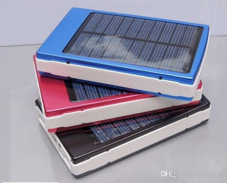 20000mAh 2 USB Port Solar Power Bank Charger Camping light External Backup Battery With Retail Box For iPhone iPad Samsung
