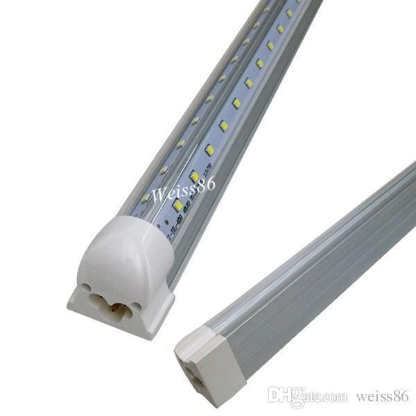 UL DLC Certification Super Bright 42W 6FT Cooler Led Tubes Light Integrated T8 V-Shaped Led Light Tubes SMD 2835 Double Rows AC 85-277V