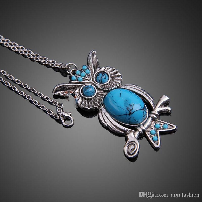 New Fashion Turquoise Owl Pendant Necklace Chain Vintage Charm Jewelry le donne Collane Dichiarazione lunga catena pendente