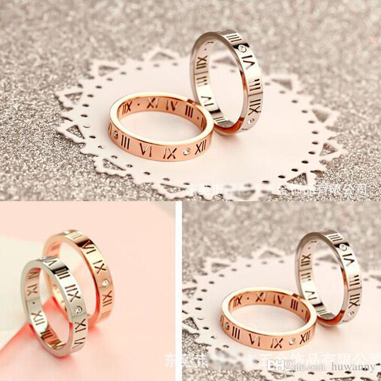 Anéis de prata anéis de aço Hot Sale embutimento CZ Diamante Roma Número inoxidável para Mulheres Party Girl Fashion Jóias Envio Atacado gratuito 0307WH