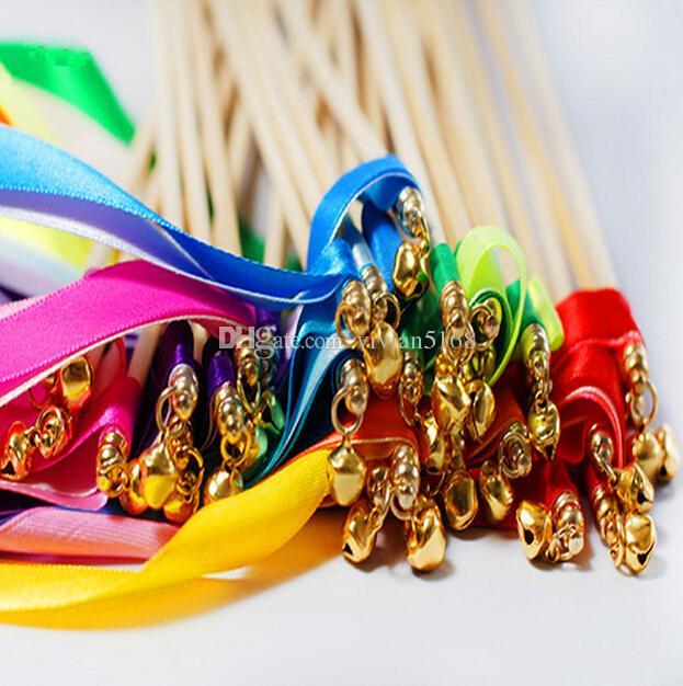 Bacchetta magica colorata Bacchetta magica Nastro nuziale Bacchette con campana TWIRLING STREAMER Bomboniere Decorazione di cerimonia nuziale Forniture feste