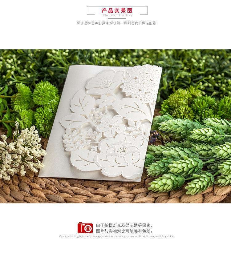 2016 Laser Bow Cut Flower Wedding Invitation Cards