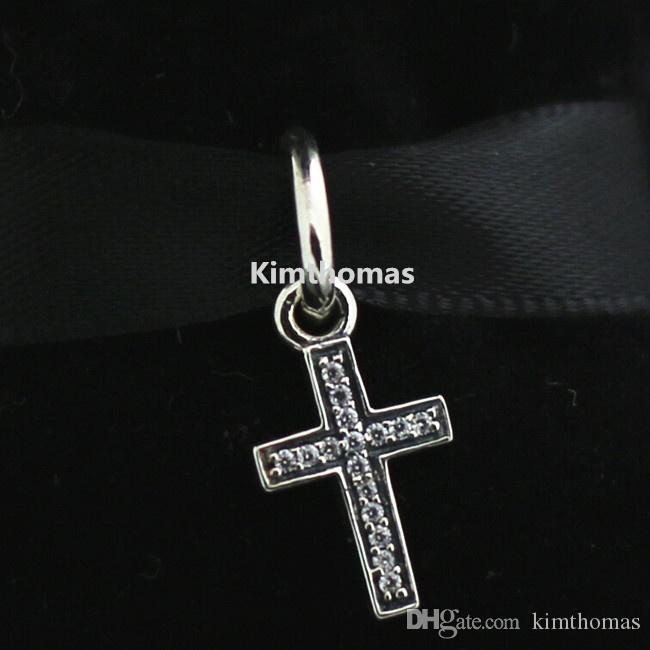 925 Sterling Silver Symbol of Faith Dangle Charm Bead with Clear Cz Fits European Pandora Style Jewelry Bracelets Necklaces & Pendants