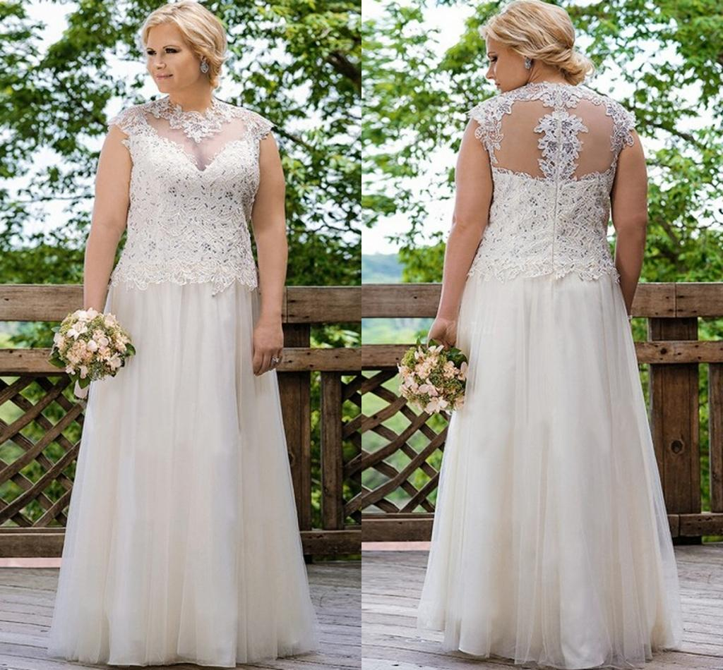 Elegant Wedding Gowns For Second Marriage: Sexy Lace Tulle Plus Size Wedding Dresses A Line Elegant