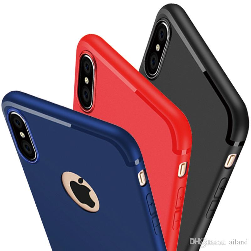new arrival e6ed6 82fca Case For Apple iPhone X Simple Pure Black Blue Red Frosted TPU Cell Phone  Protect Shell with Dust Cover