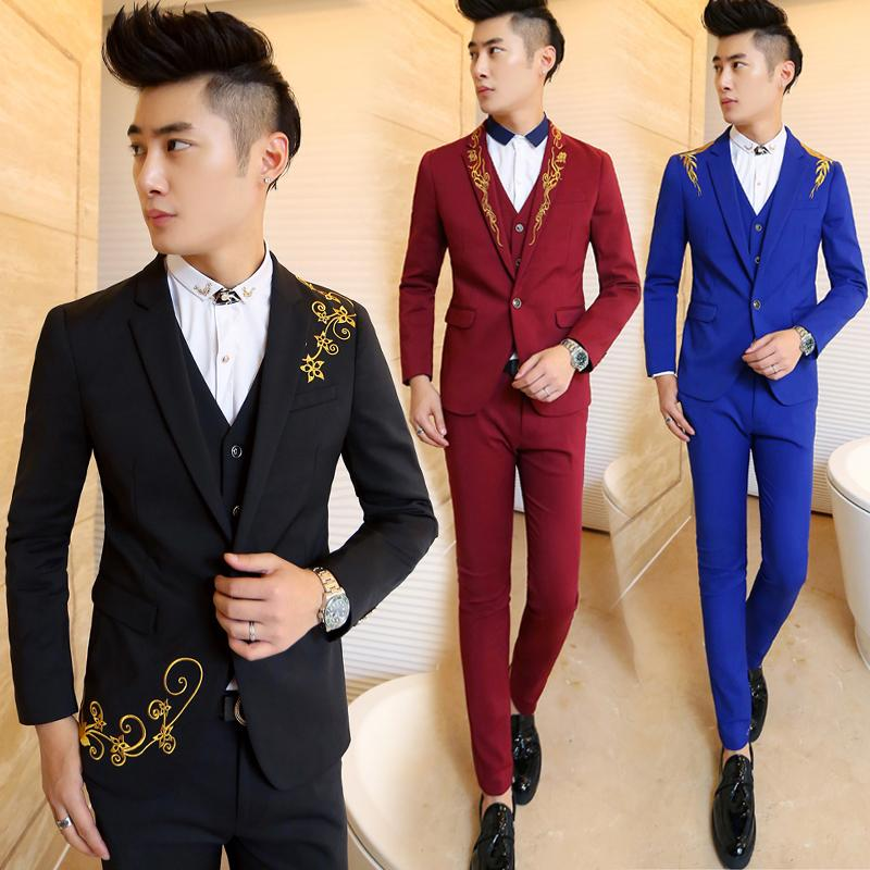 2015 Red Blue Black Groom Tuxedos Slim Fit Notch Lap Embroidery ...