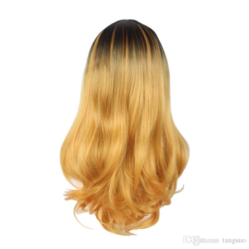 Women Black Gold Mixed Color Gradient Long Wavy Synthetic Hair Wigs Fashion Ombre Wave Heat Resistant Hair Carve Cosplay Wigs For Party 60cm