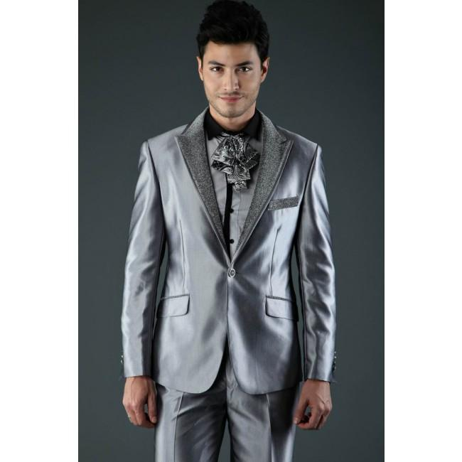 Gut gemocht Unique Groom Suits Silver Gray Wedding Suit For Men Costume Homme  RY71