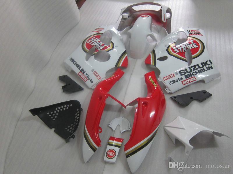 Высокое качество обтекатель комплект для SUZUKI GSXR600 GSXR750 1996-2000 GSX-R600/750 96 97 98 99 00 красный белый счастливый удар обтекатели набор GB8