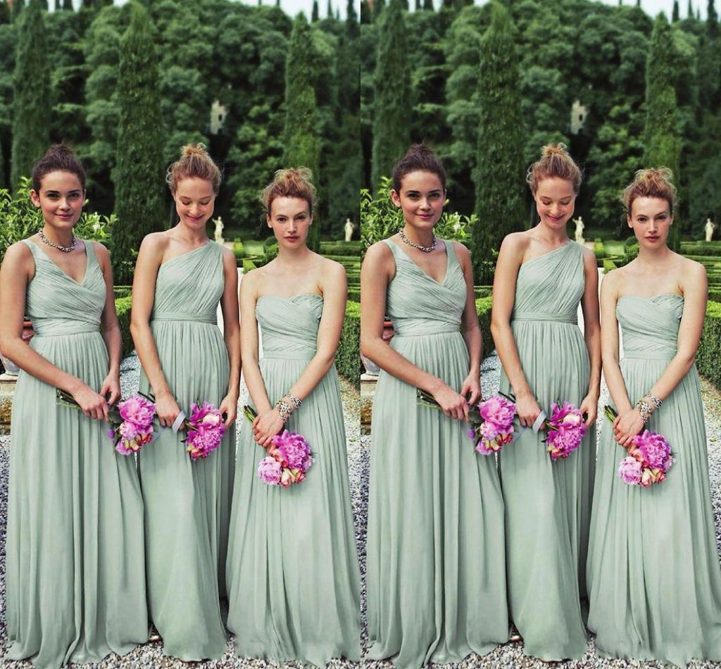 Perfect matching 3 styles long mint chiffon bridesmaid dresses one perfect matching 3 styles long mint chiffon bridesmaid dresses one shoulder a line floor length chiffon bill levkoff wedding party prom gown lace ombrellifo Image collections