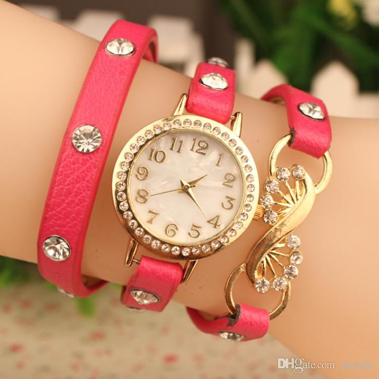 PU moda Wrap muñeca mujer dama relojes flor ronda Dial pulsera encantadora relojes de cuarzo colores de la mezcla