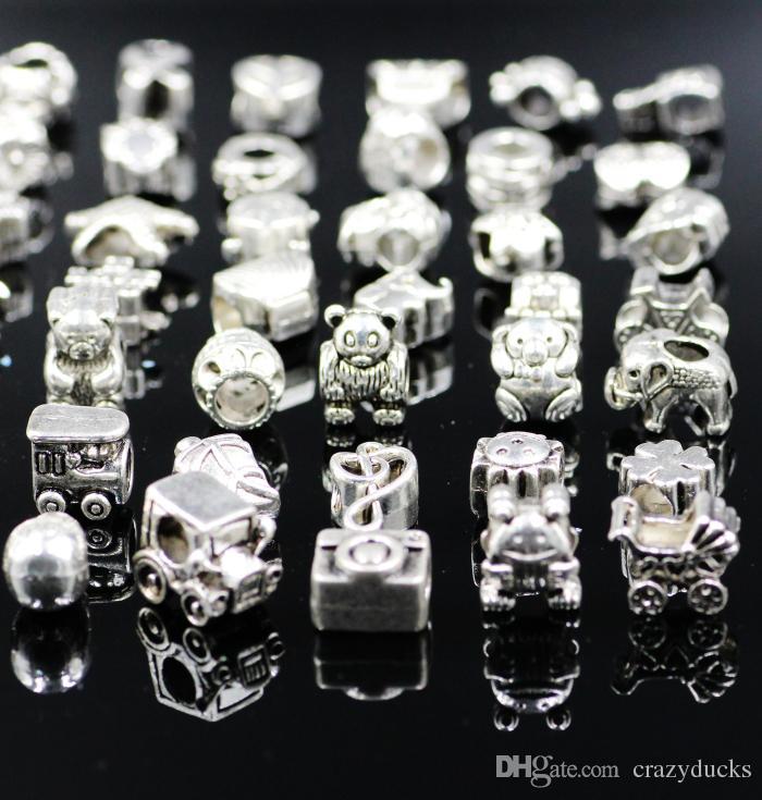 Mezcla 29 estilo del agujero grande encanto de los granos sueltos para Pandora DIY pulsera de la joyería para la pulsera europea Necklace