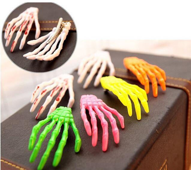 Fashion Skeleton Claws Skull Hand Hair Clip Hairpin Zombie Punk Horror hairwear hairpin bobby pin Hand bone hairpin hair clips