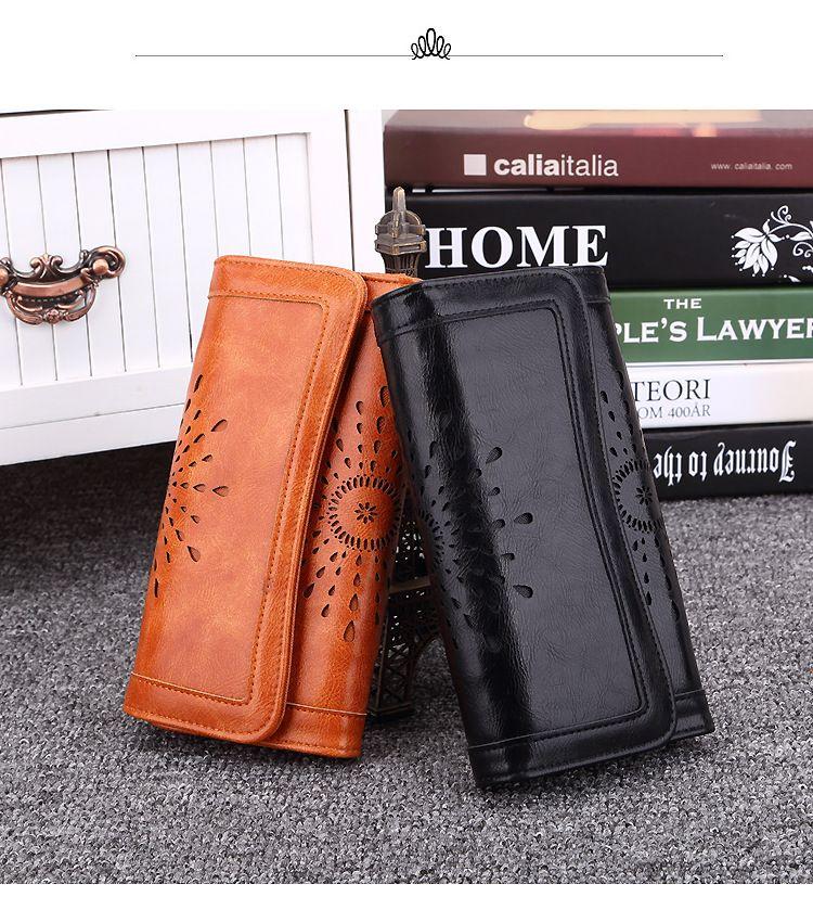 Hot Sale High quality Pierced wallet woman purse wearable cute solid color fashion long zipper ladies clutch wallet Three Folds