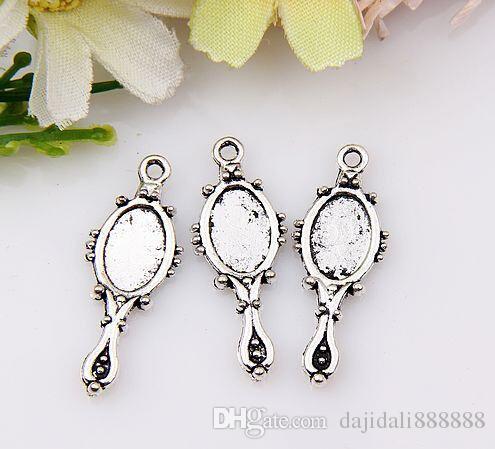 MIC liga de zinco de prata Antigo espelho de Mão Pingentes Charme Jóias DIY 22x10mm