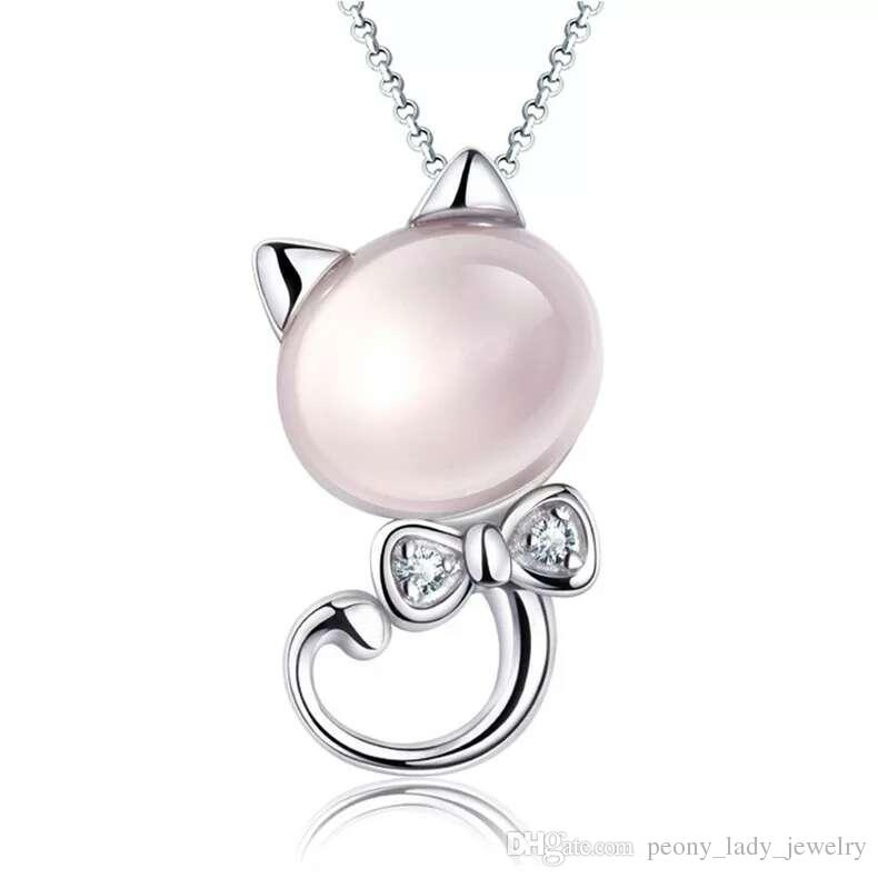 925 sterling silver items jewelry pendant statement necklaces wedding pink cat hello kitty shape free shipping