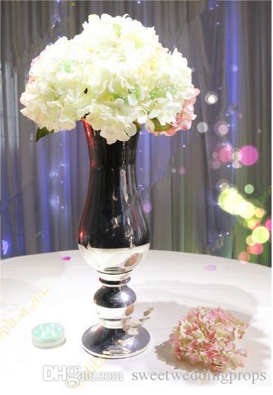 Ev dekorasyonu için düğün dekorasyon simli çiçek vazolar
