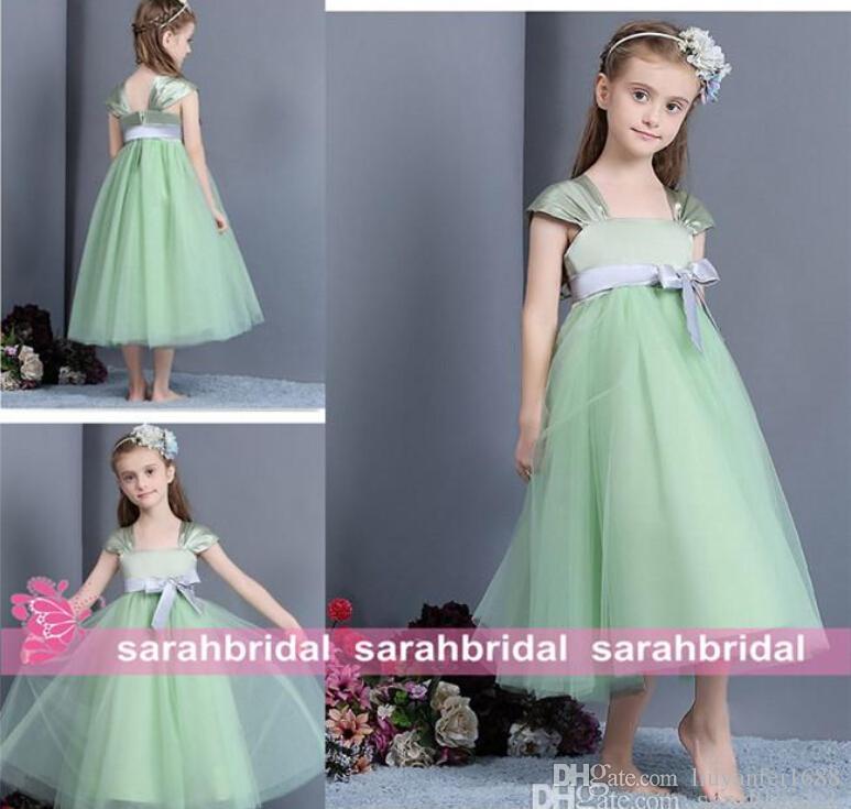 2015 Robes De Filles De Petite Fleur De Longueur De Menthe Vert Tulle Empire Arc De Mariée Robes De Mariée Manches Cap Pour Mariages Enfants Vente Formelle Pas Cher