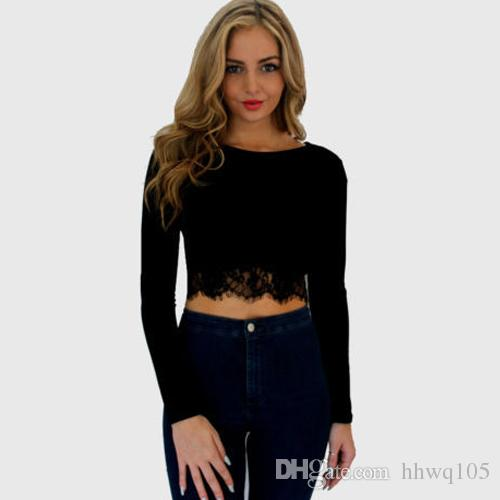 e1d2abea343618 Sexy Ladies Black Red Lace Trim Tee Crop Top Long Sleeve Scoop Neck Leisure  T Shirt Slim Fit Short Shirt MDF0274 The T Shirt T Shirts Designer From  Hhwq105