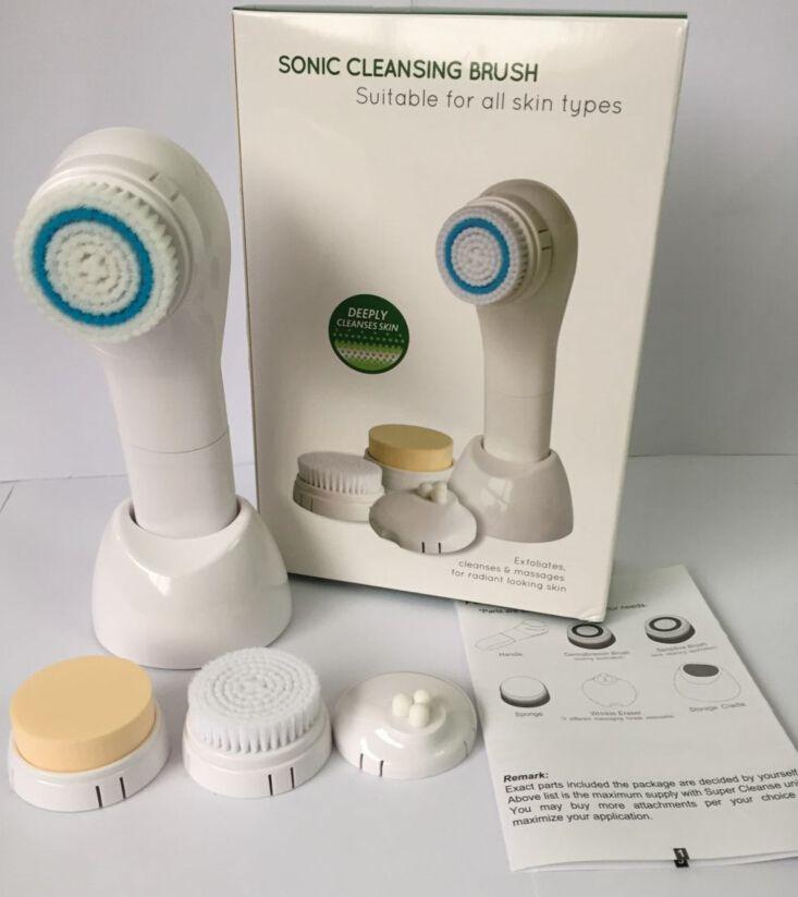 Sonic Brosse de nettoyage 5-en-1 Brosse électrique pour le visage Thérapie brillante Système de soins de la peau Soins du visage Masseur Étanche
