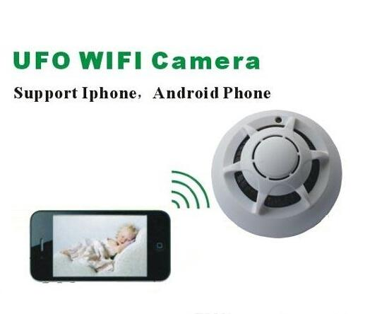 WiFi wireless P2P cam smoke detector camera UFO remote control smoke detector type nanny home security pinhole camera