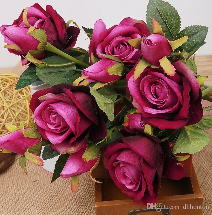 غرفة الاصطناعي روز الحرير الحرفية الزهور ريال اللمس الزهور لحفل زفاف الديكور الشحن المجاني HR014