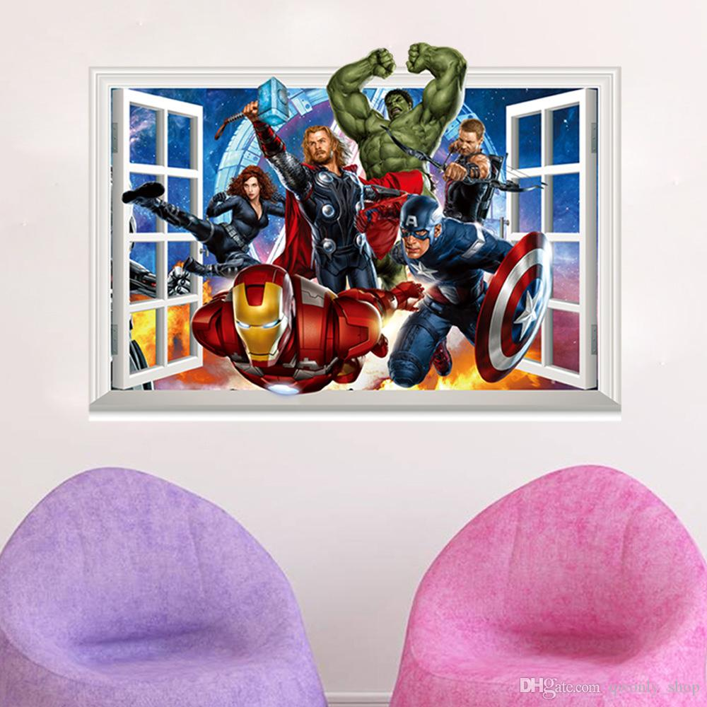 The avengers 3d window effect wall sticker super hero captain the avengers 3d window effect wall sticker super hero captain america iron man hulk thor wall stickers decal gift for baby kids amipublicfo Images