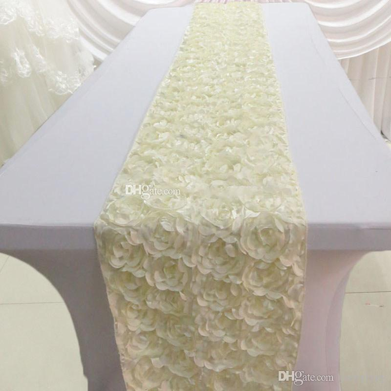 New Arrival 3D Rose Flower Design Stain Table Runners 30 x 275 CM Fashion Tablecloth For Wedding Banquet Party Decoration Supplies