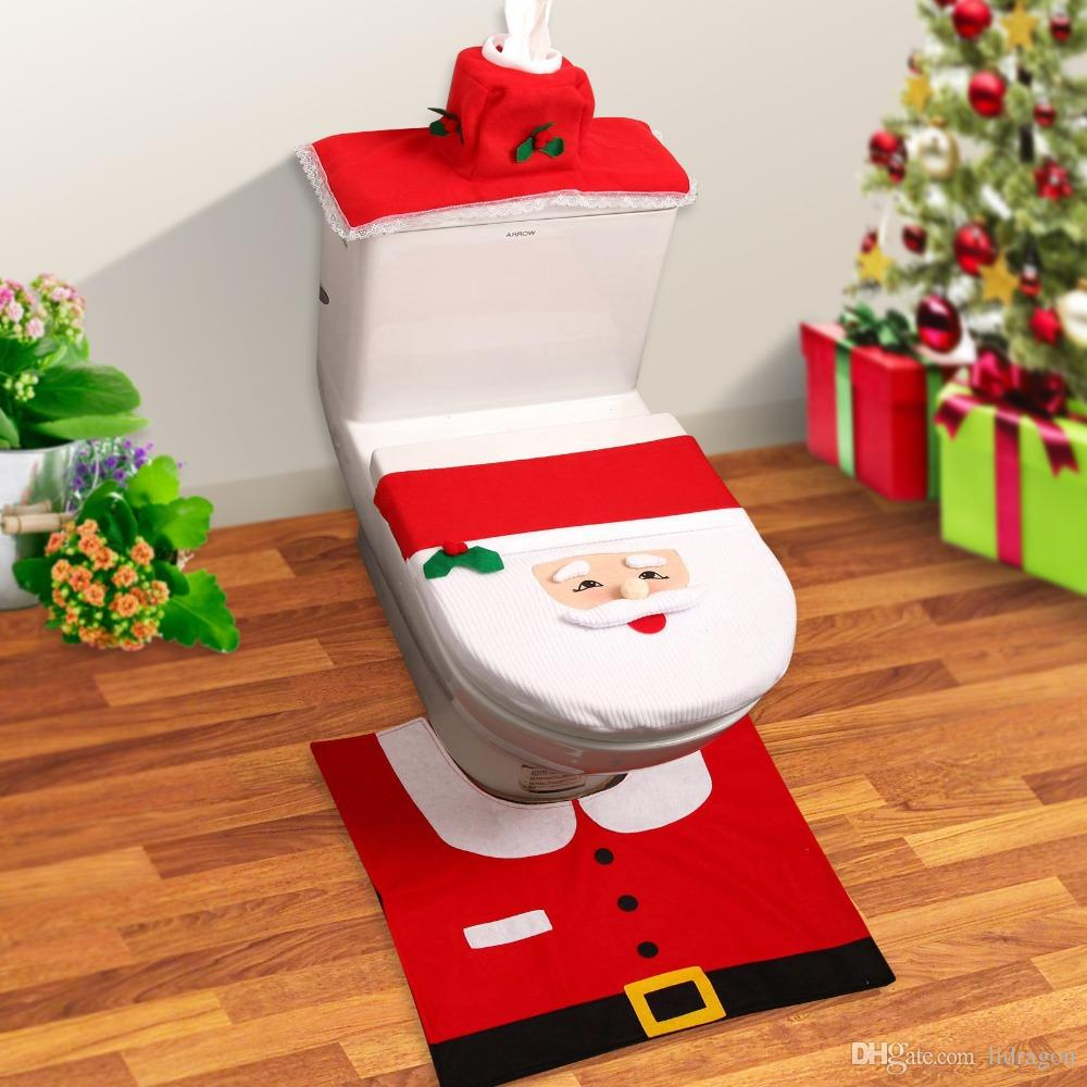 Bathroom Santa Claus Toilet Seat Cover Rug Set Christmas Supplies Decorations Ornament Decorators Decors From Lidragon