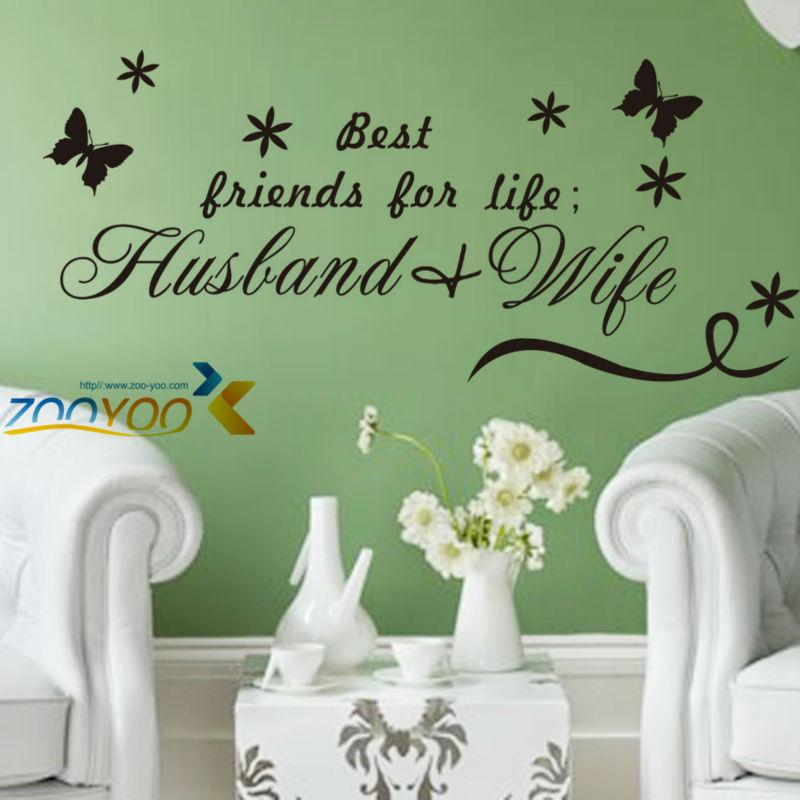 Husband   Wife Butterfly English Quote Vinyl Wall Decals Romantic Bedroom  Wall Stickers Wedding Wallpaper Sticker Wall Quotes Sticker Walls From  Laiwenjie2. Husband   Wife Butterfly English Quote Vinyl Wall Decals Romantic