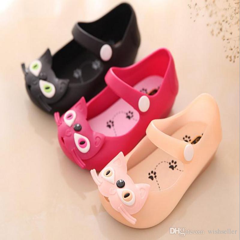 Sommer Babyschuhe Kinder Mädchen Sandalen Süße Katze Schnalle Flache Kunststoff Sandalen Kinderschuhe Geleeschuhe