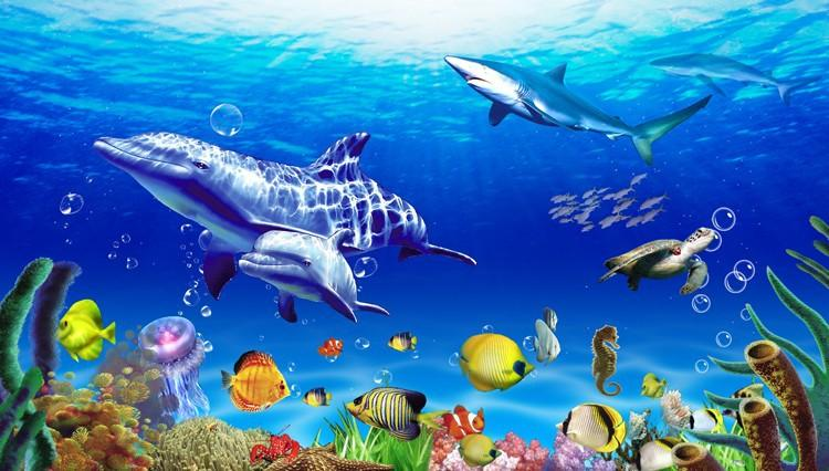 3d underwater wallpaper 3d underwater world dolphin hotel large fish ceiling mural 178